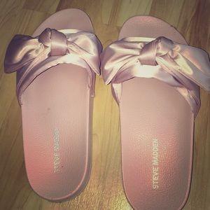 Steve Madden pink bow silk sandals